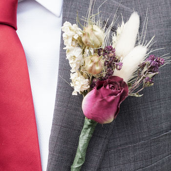 Three Burgundy Buttonholes