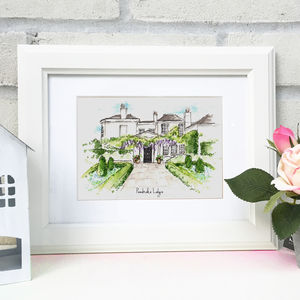 Personalised Wedding Venue Illustration - mixed media & collage