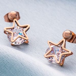 Rose Gold Star Earrings With Crystal - summer sale