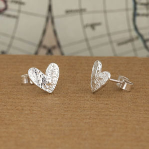 Large Silver Heart Earrings