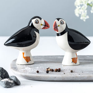Handmade Ceramic Puffin Salt And Pepper Shakers