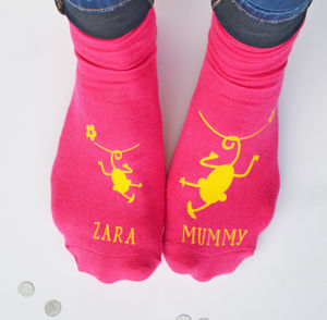 Personalised Cheeky Monkey Mummy Socks - women's fashion