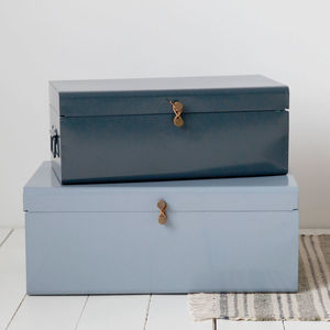 Metal Storage Trunk With Leather Detail - storage & organisers