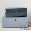 Metal Storage Trunk With Leather Detail