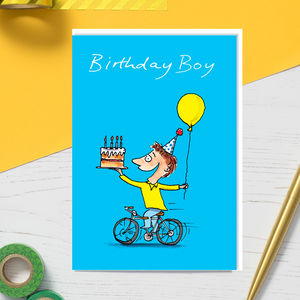 Birthday Boy On Bike Children's Birthday Card