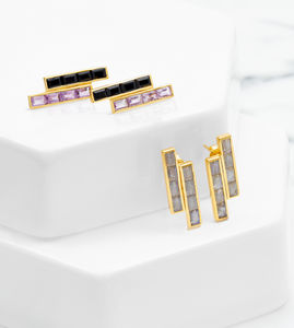 Gold Geometric Gemstone Earring Equilibrium
