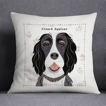 Black And White Springer Spaniel Dog Cushion Cover