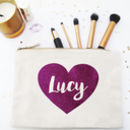 Personalised Glitter Heart Make Up / Wash Bag