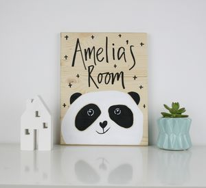 Panda Personalised Wooden Room Sign