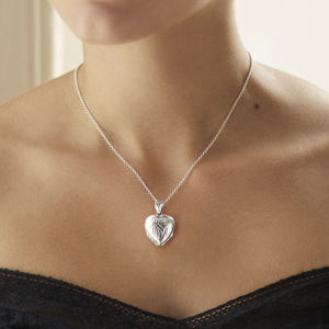 Engraved Four Piece Heart Locket