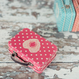 Melon Polka Dot Tin Suitcase