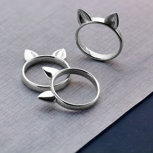 Sterling Silver 'Kitty Meow' Cat Ear Ring - rings