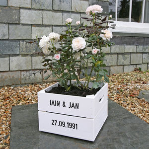 Personalised Anniversary Square Planter Crate - flowers