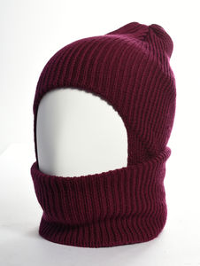 Bowen Merino Wool Balaclava Bordeaux - hats, scarves & gloves