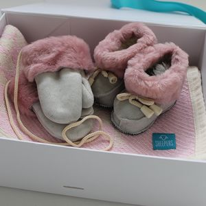 Baby Sheepskin And Blanket Gift Set