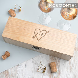 Personalised Carved Heart Wine Box For Couples - wine racks & storage