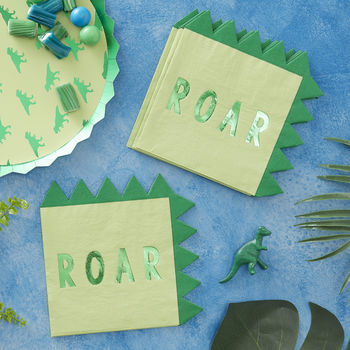 Dinosaur Shaped Green Foiled Paper Party Napkin