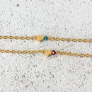 Tiny Gold Heart Birthstone Bracelet