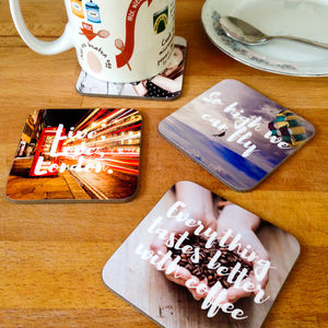 Personalised Photo And Message Drinks Coasters - summer home