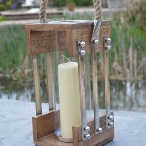 Nautical Wood Candle Lantern With Rope Handle - lighting