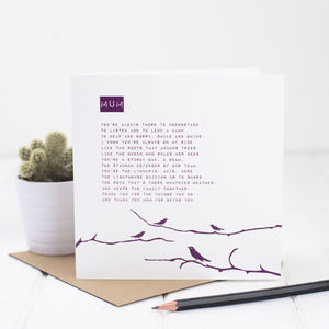 Mum Poem Card - cards sent direct