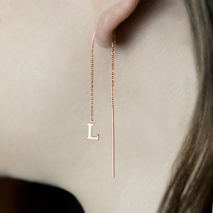 Rose Gold Personalised Initial Threader Earrings