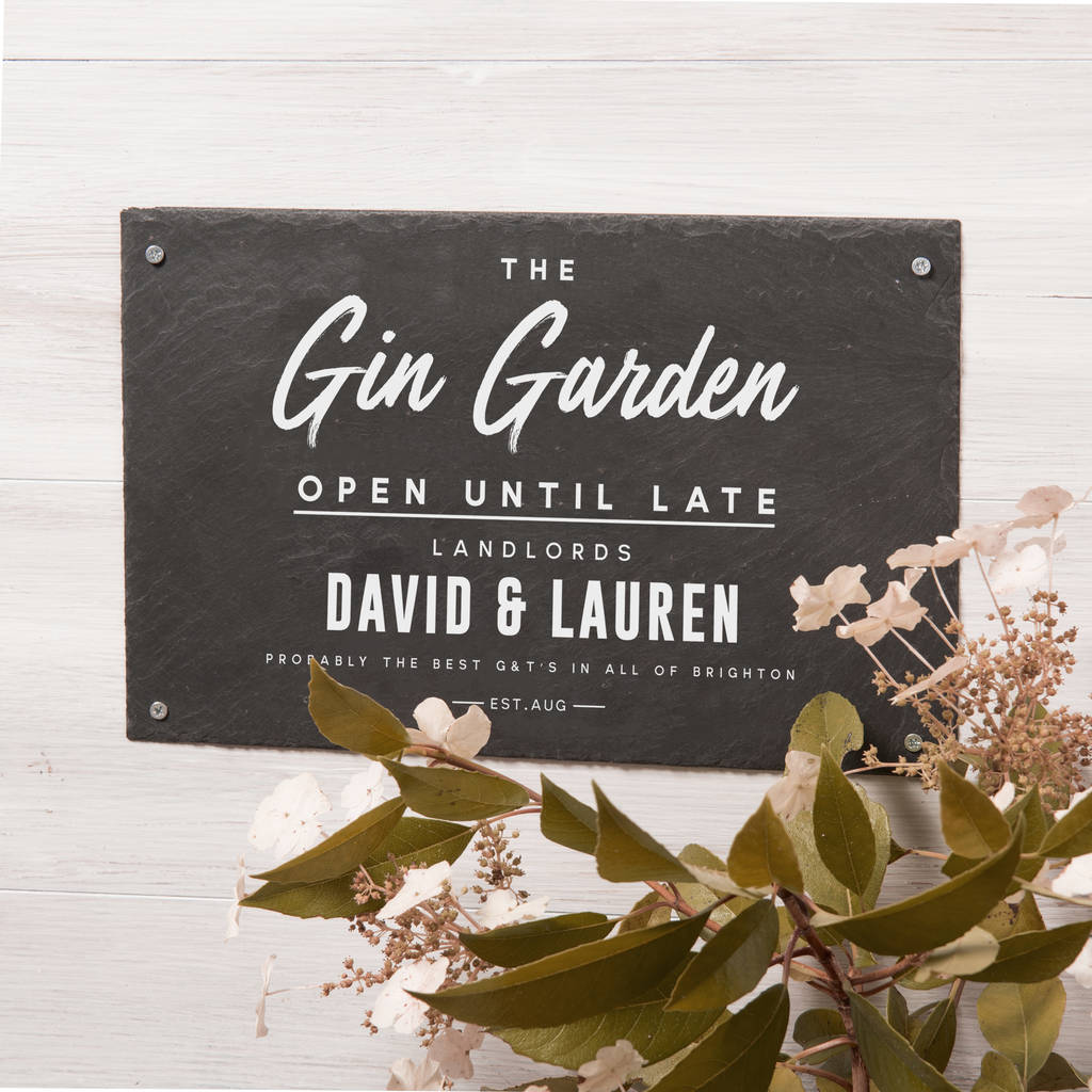 Personalised 'Gin Garden' Slate Sign