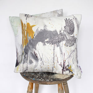 'Red Footed Falcon' Printed Linen Cushion - cushions