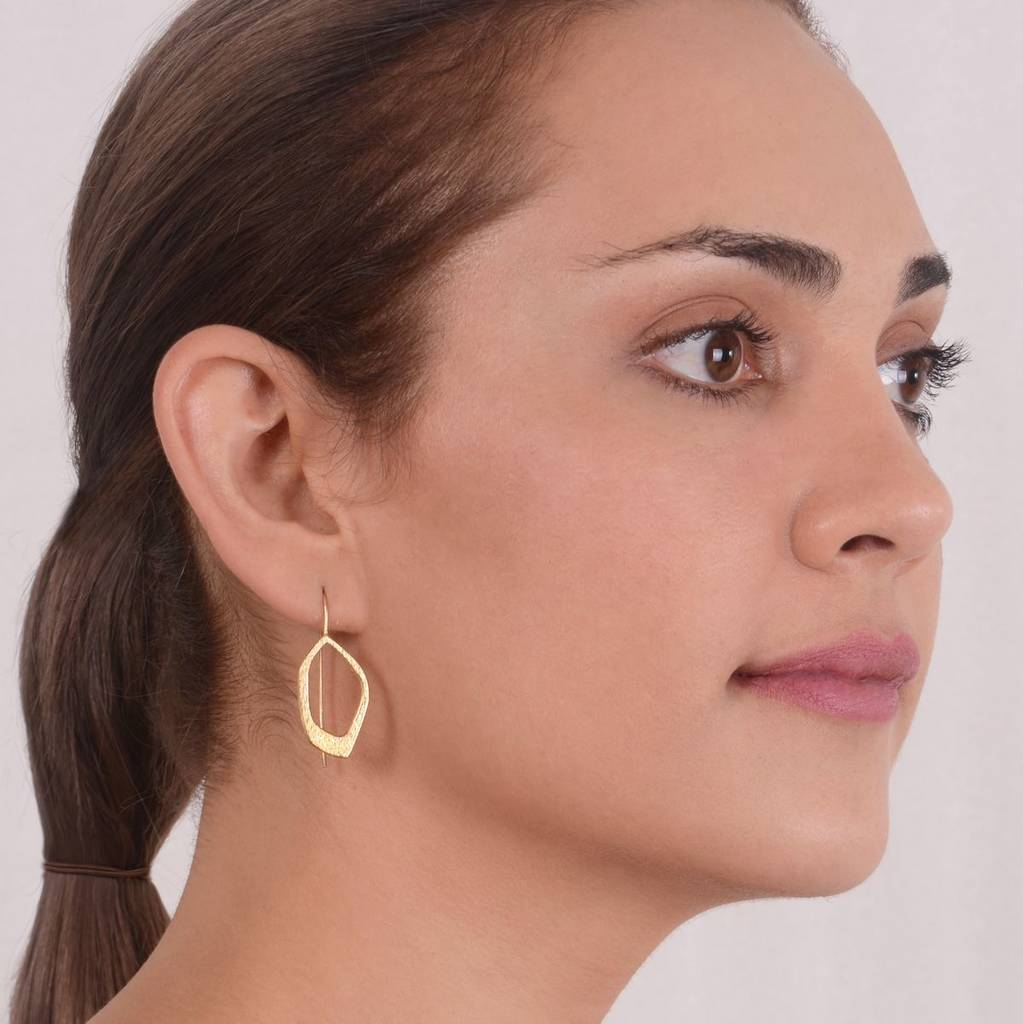 Textured 24 Kt Gold Plated Earrings