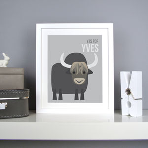 Personalised Yak Nursery Print