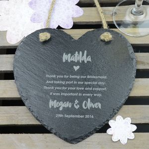 Thank You Bridesmaid Slate Heart - hanging decorations