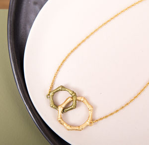 Bronze And Gold Plated Bamboo Necklace - necklaces & pendants