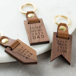 Personalised Luxury Leather Wood Keyring