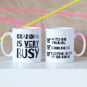 Personalised 'Very Busy' Grandma Mug - tableware