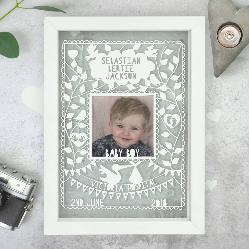 personalised new baby papercut by the portland co ...
