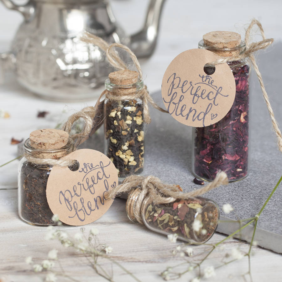 Cute Wedding Favour Tea In Glass Bottle With Cork By Spice