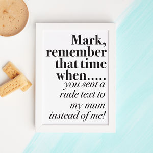 Personalised Remember When Print - gifts for him