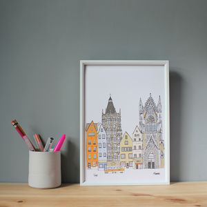 Cologne Skyline Print - maps & locations