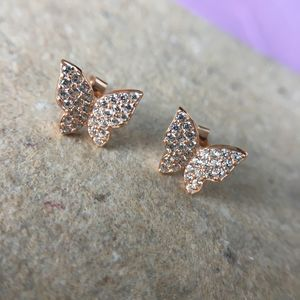 Sparkling Butterfly Sterling Silver Earring - earrings