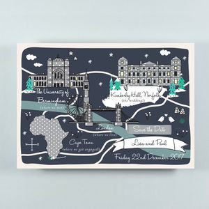 Bespoke Illustrated Save The Date Map - new in wedding styling