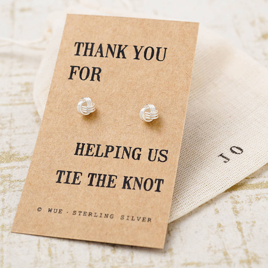 Wedding Thank You Message No Gift : thank you bridesmaid knot earrings by wue notonthehighstreet.com