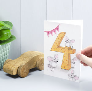 Happy 4th Birthday Mouse Greeting Card