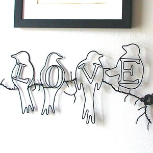 Love Birds Wire Wall Art - sculptures