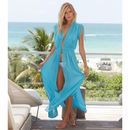 Sara Long Beach Cotton Kaftan Turquoise