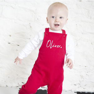 Personalised Christmas Script Dungarees - baby & child christmas clothing