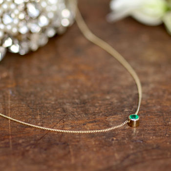Gold Elphaba Emerald Necklace