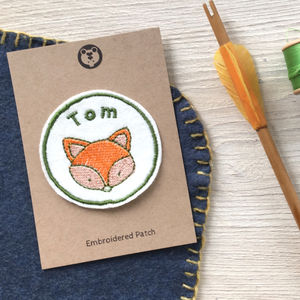 Personalised Embroidered Patch 'Fox'