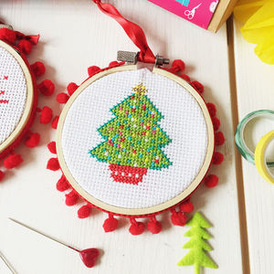 christmas tree cross stitch bauble craft kit - Cross Stitch Christmas Decorations