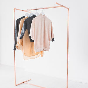 Minimal Reverse Reflection Copper Clothing Rail - storage & organisers