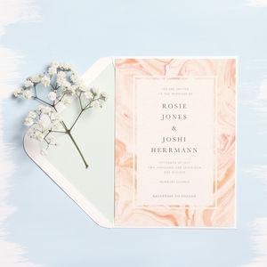 Set Of 20 Rose Marbled Wedding Invitations - invitations